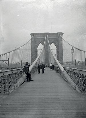 Brooklyn Bridge looking east from Manhattan, 1899.