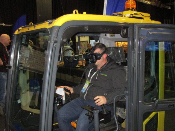9.  Dylan Ward on the Komatsu virtual reality simulator.